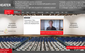 Nurture Marketing Virtual Tradeshow example showing a presentation in a crowded auditorium